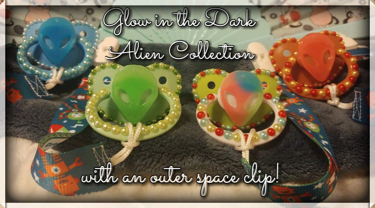 Glow in the Dark Alien Collection with an outer space pacifier clip!