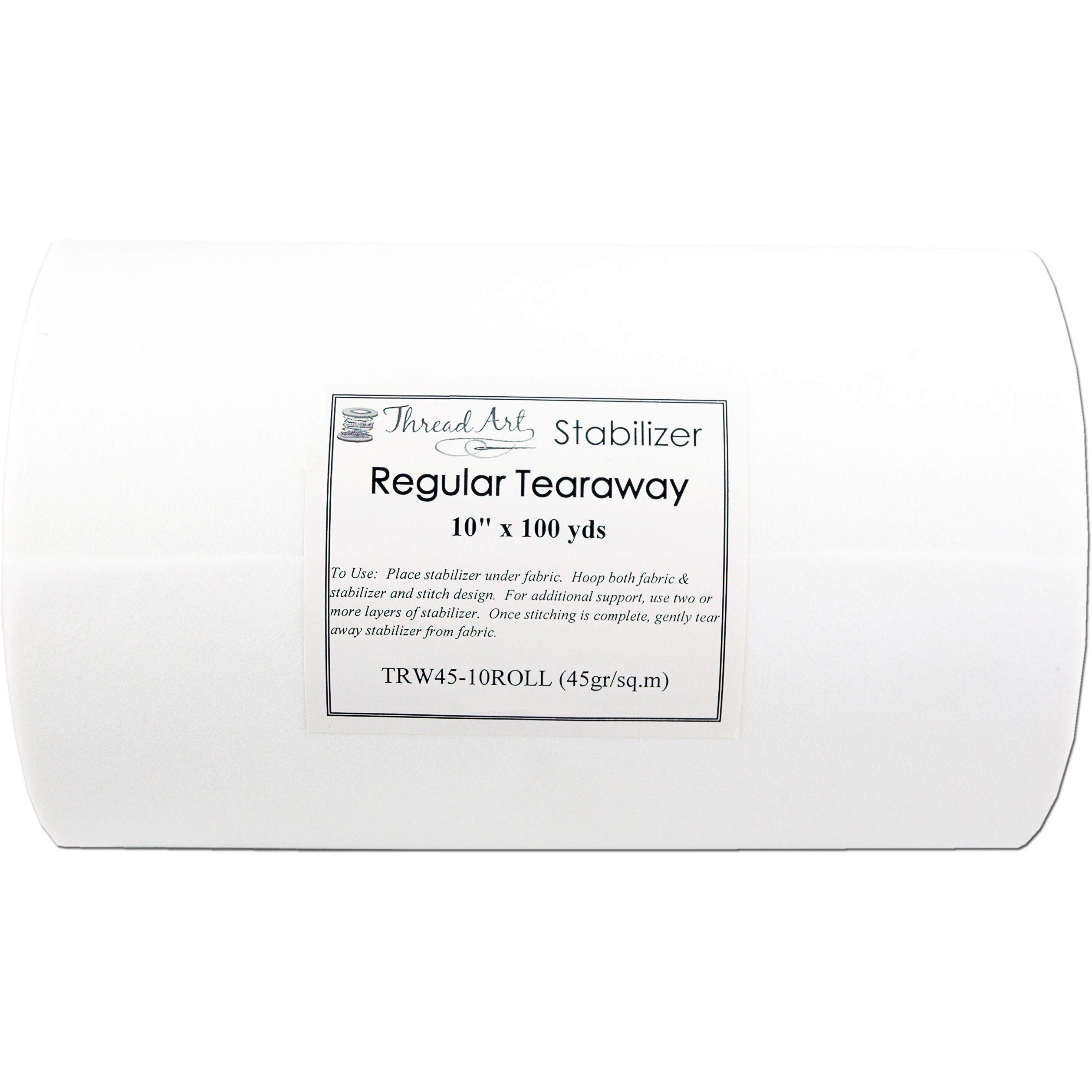 Threadart Tearaway Embroidery Stabilizer   1.6 oz Medium Weight   10'' x 100 yd roll   For Machine Embroidery   Also Available Over 20 Additional Styles of Cutaway, Washaway, Tearaway, Sticky in Rolls and Precut Sheets by Threadart