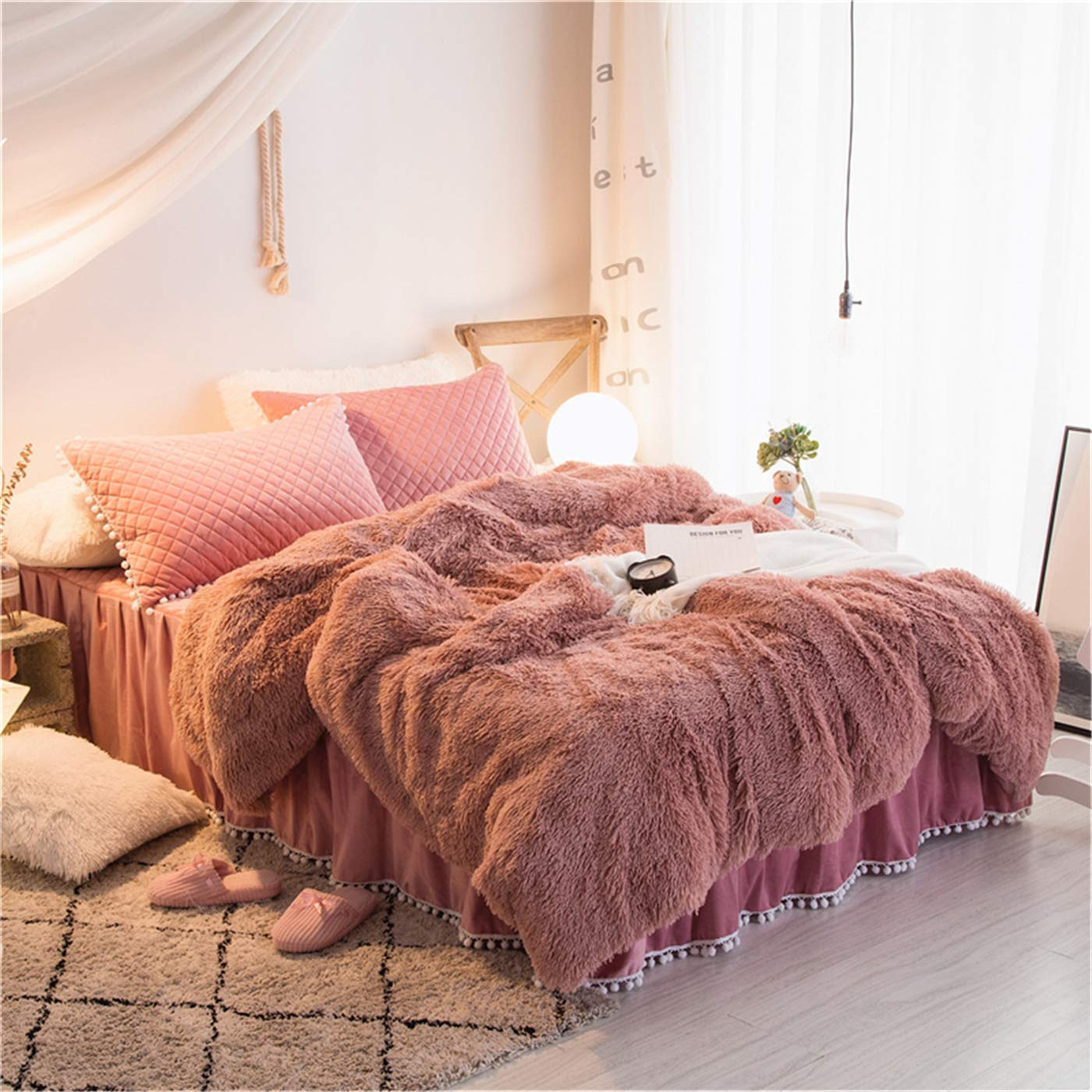 MooWoo 4PCS Shaggy Bedding Sets, 1 Velvet Flannel Duvet Cover + 1 Quilted Ruffle Bed Sheet Skirt + 2 Pompoms Fringe Pillow Sham, Zipper Closure Velvet Bedding Sets (Dusty Rose, Queen)
