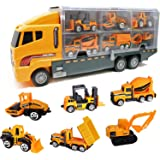 Die Cast Emergency Trucks Vehicles Toy Cars Play Set in Carrier Truck - 7 in 1 Transport Truck Emergency Car Set for…