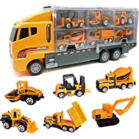 Toy 6 in 1 Die-cast Construction Truck Vehicle Car Toy Set Play Vehicles in Carrier Truck