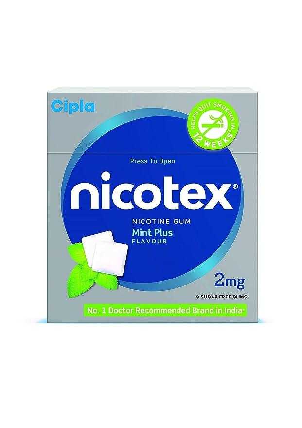 Cipla Nicotex Nicotine Gum - 2 mg (9x10 Pieces, Mint)