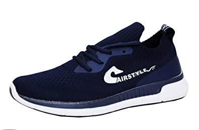 a582af72155c MAX AIR Stylish Navy Color Shoes for Men Mesh Textiles Trendy Casual Derby  Lace-Up Shoes Running Sports Shoes  Buy Online at Low Prices in India -  Amazon.in