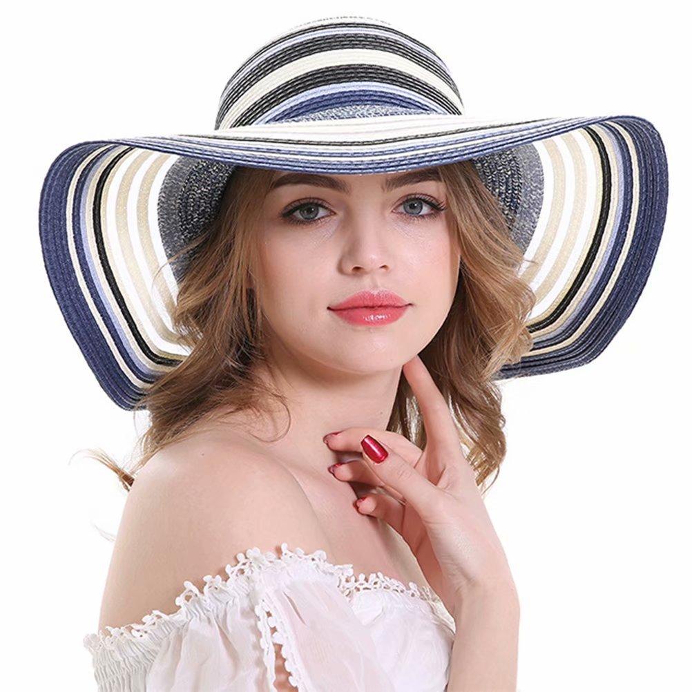 b922451b7cd Minions Boutique Women Floppy Stripes Big Brim Beach Hat Travel Packable Caps  Summer Anti-UV Adjustable Straw Hats Blue  Amazon.co.uk  Sports   Outdoors