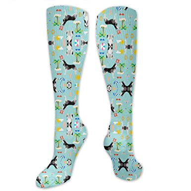 56f9b02a1a1fa Image Unavailable. Image not available for. Color: Blue Husky Beach Summer  Dog Compression Sock for Women & Men ...