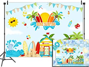 Fanghui Surfing Shark Vinyl Tropical Backdrops Banner for Photography 7x5ft Photo Backgrounds Summer Beach Decoration Party