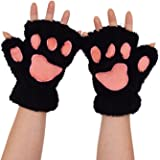 WITERY Women Girls Velvet Plush Gloves - Fingerless Thick Warm Wool Windproof Gloves Cold Proof Thermal 3D Cartoon Mittens - Ideal for Party / Cosplay / Costumes / Dressing etc