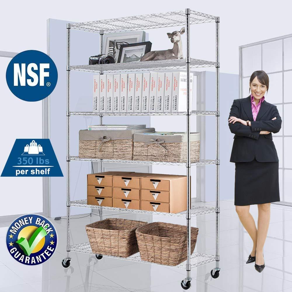 "Wire Shelving Unit NSF Heavy Duty Office Bathroom Kitchen Adjustable Metal Storage Shelves Rack with Wheels 48""x18""x82"" 6 Tier Shelf Commercial Grade Utility Garage Shelving Unit"