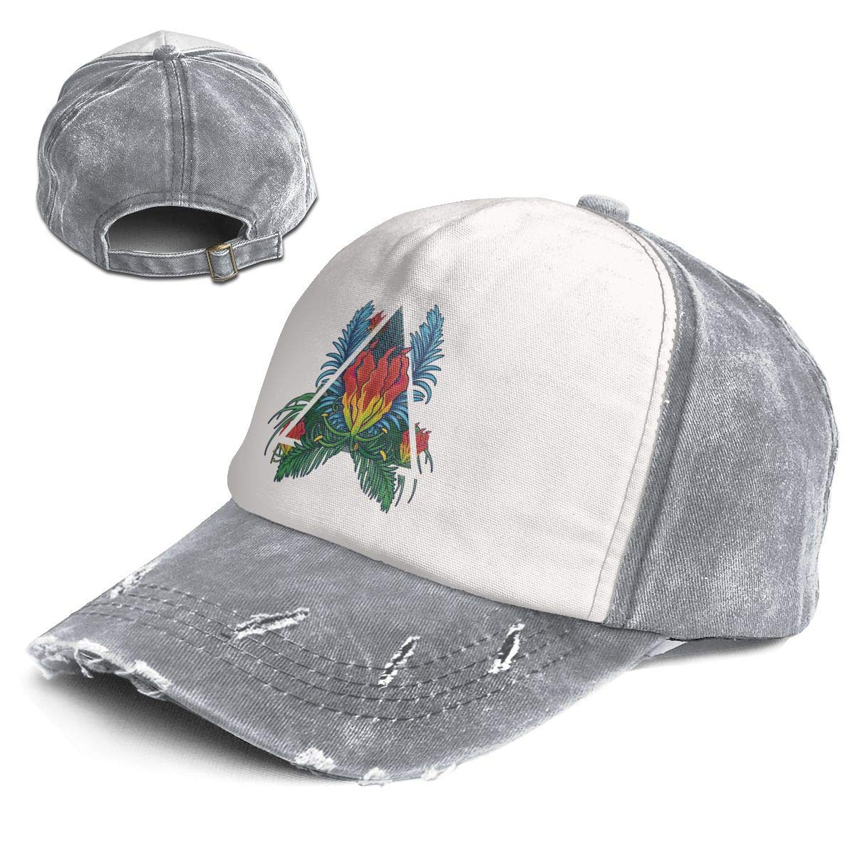 Fashion Vintage Hat Flowers Decorated with Triangular Title Box Adjustable Dad Hat Baseball Cowboy Cap