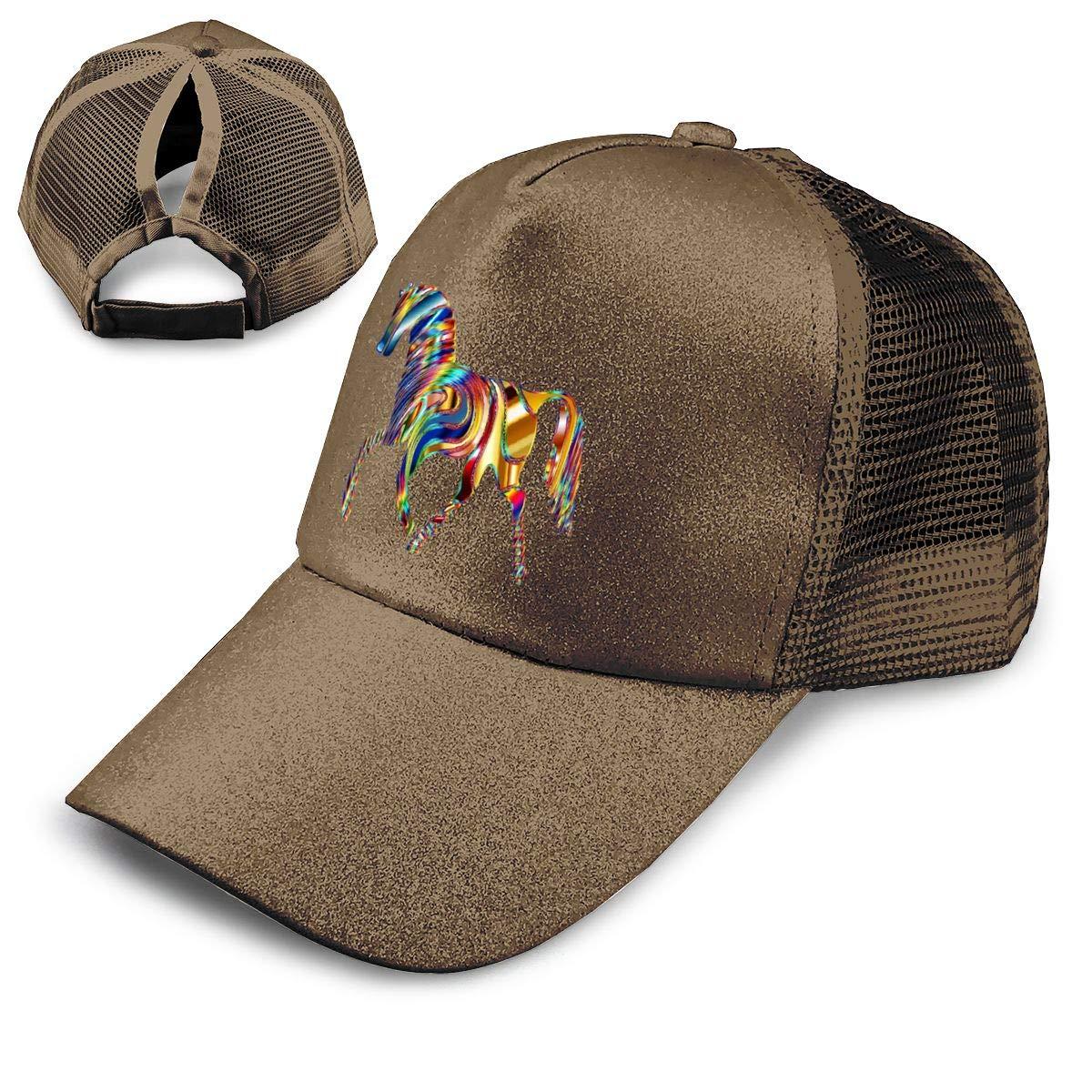 Horse Animal Ponytail Messy High Bun Hat Ponycaps Baseball Cap Adjustable Trucker Cap Mesh Cap