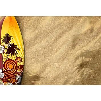 Cassisy 2,2x1,5m Vinilo Mar Telon de Fondo Vendimia Arte Tabla de Surf Playa de Arena Tropical Cielo Soleado Fondos para Fotografia Party Infantil Photo ...