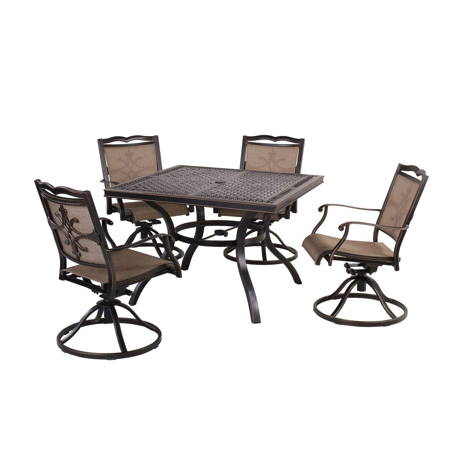 """CW Chair 5-Piece Cast Aluminum Rust-Free Patio Dining Set with 4 Outdoor Swivel Dining Chairs and 42"""" Square Dining Table, Antique Bronze Finish, with Umbrella Hole for Lawn Garden Backyard"""