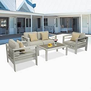 Kinsunny 4pcs Outdoor Sectional Sofa Set Aluminum Patio Furniture Shore Conversation Armrest Set with Side Table and Cushions for Backyard Outside