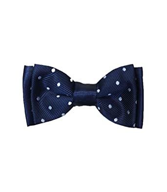 5e08a29ab965 BOYS DARK NAVY STRAPPED POLKA DOT SPOTTY BOW TIE: Amazon.co.uk: Clothing