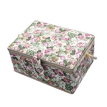 Vintage floral print Stoff groß Schnittmuster Werkzeug Box Korb ...