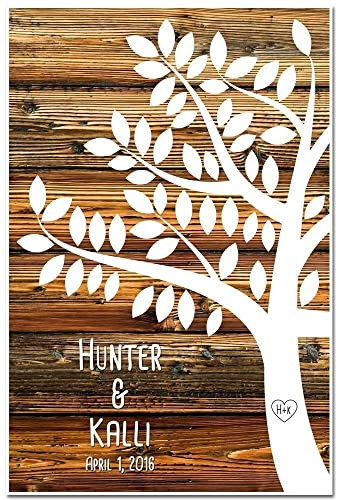 Guestbook Poster Signing Tree with 55 leaves