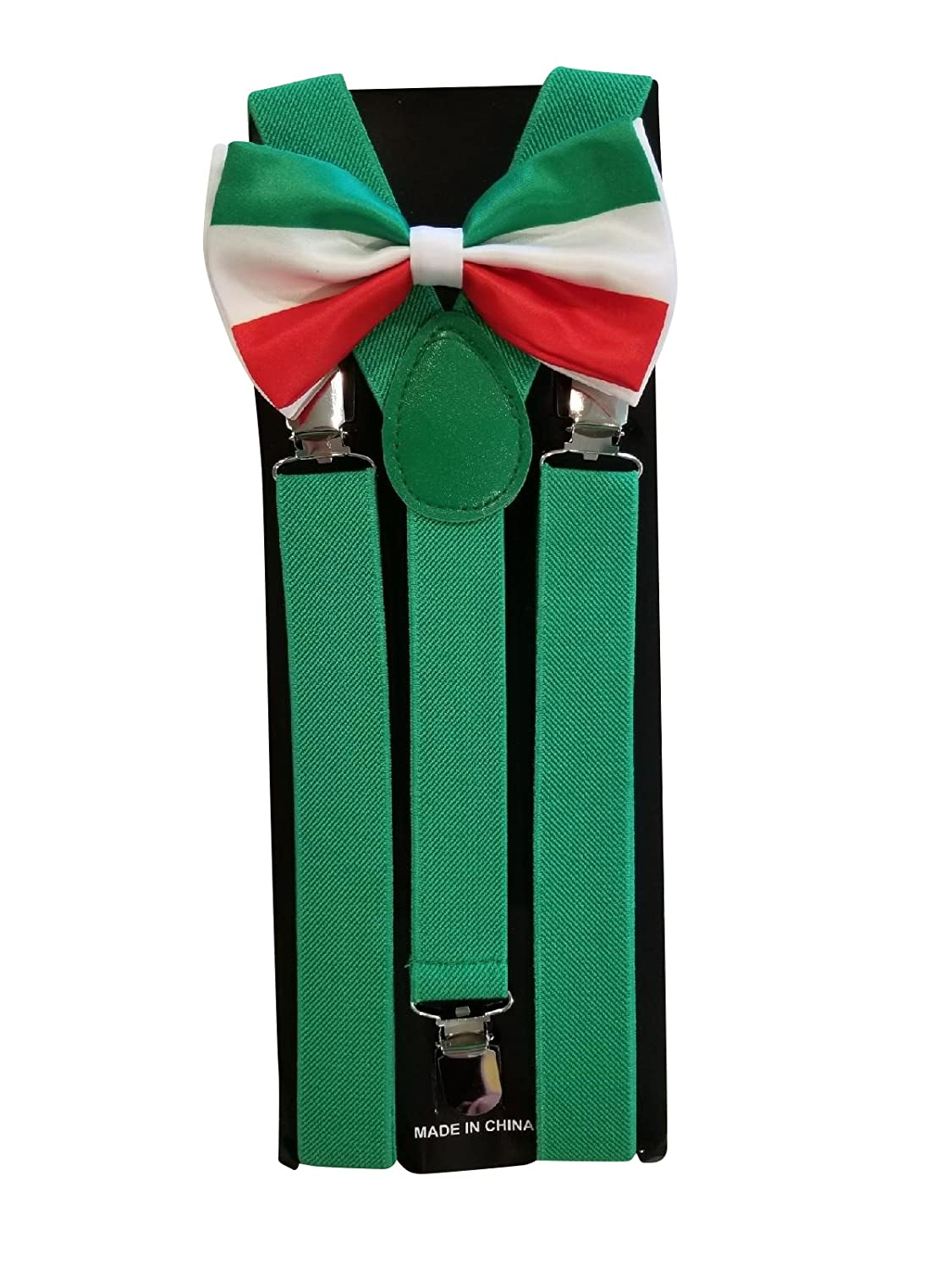 Mexican Flag Bow Tie and Suspenders Set Combo