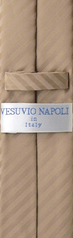 Vesuvio Napoli Skinny NeckTie Mocha Light Brown Stripes 2.5 Tie /& Handkerchief