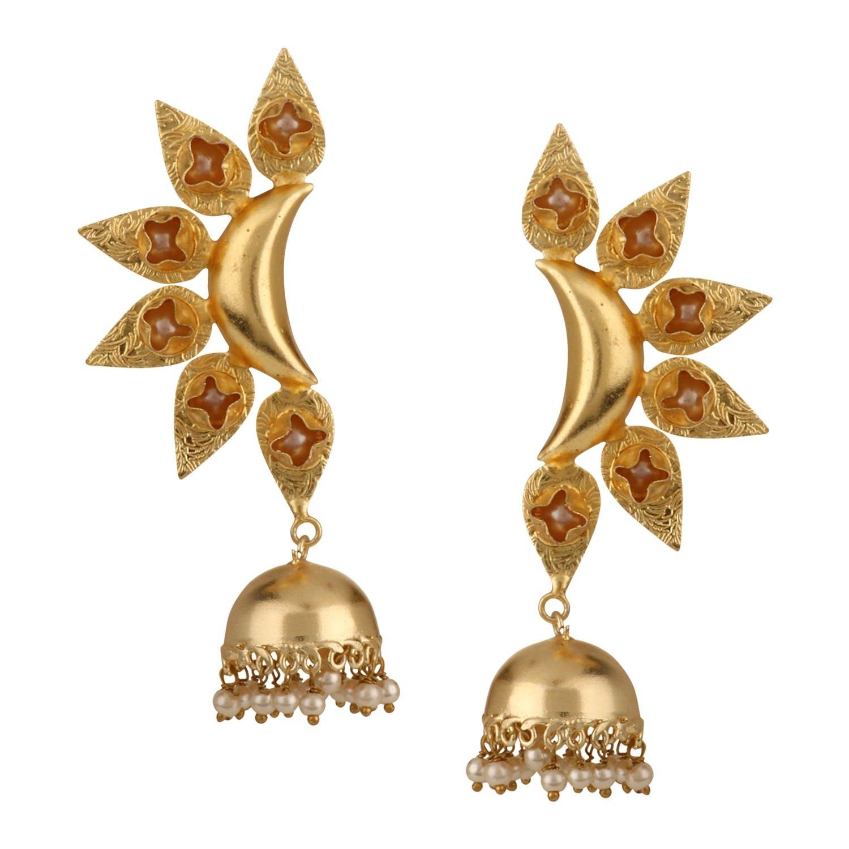 Efulgenz Indian Bollywood 14K Gold Plated Crystal Kundan Pearl Leaf Style Jhumka Jhumki Earrings Jewelry Set