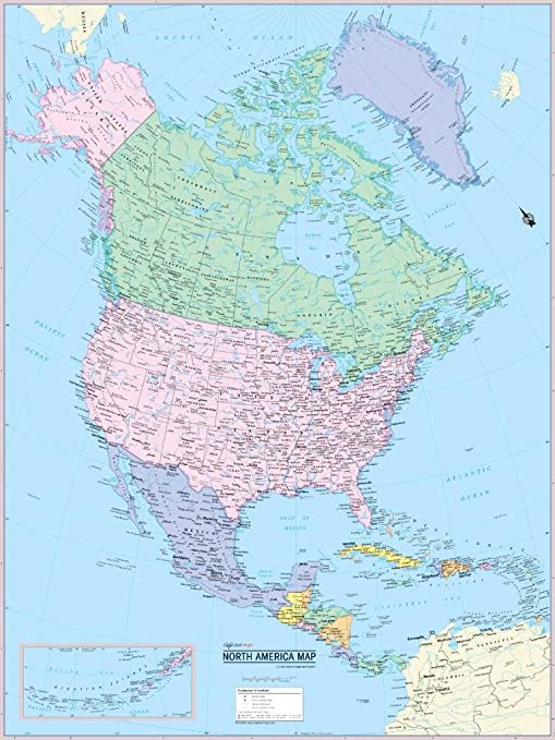 36x24 Cool Owl Maps United States & World 3D Wall Maps Two ...