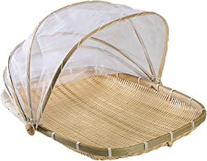 Bamboo Basket,Hand-Woven Food Serving Tent Basket Nature Bamboo Kitchen Serving Food Fruit Baking Tent Basket Mesh Tent Basket With Gauze (Bug- Proof, Dust-proof) Keep Out Flies, Bug, Mosquitoes (11.8