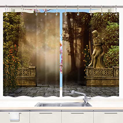 Amazon Com Vintage Garden Kitchen Curtains Stone Wall And Statue