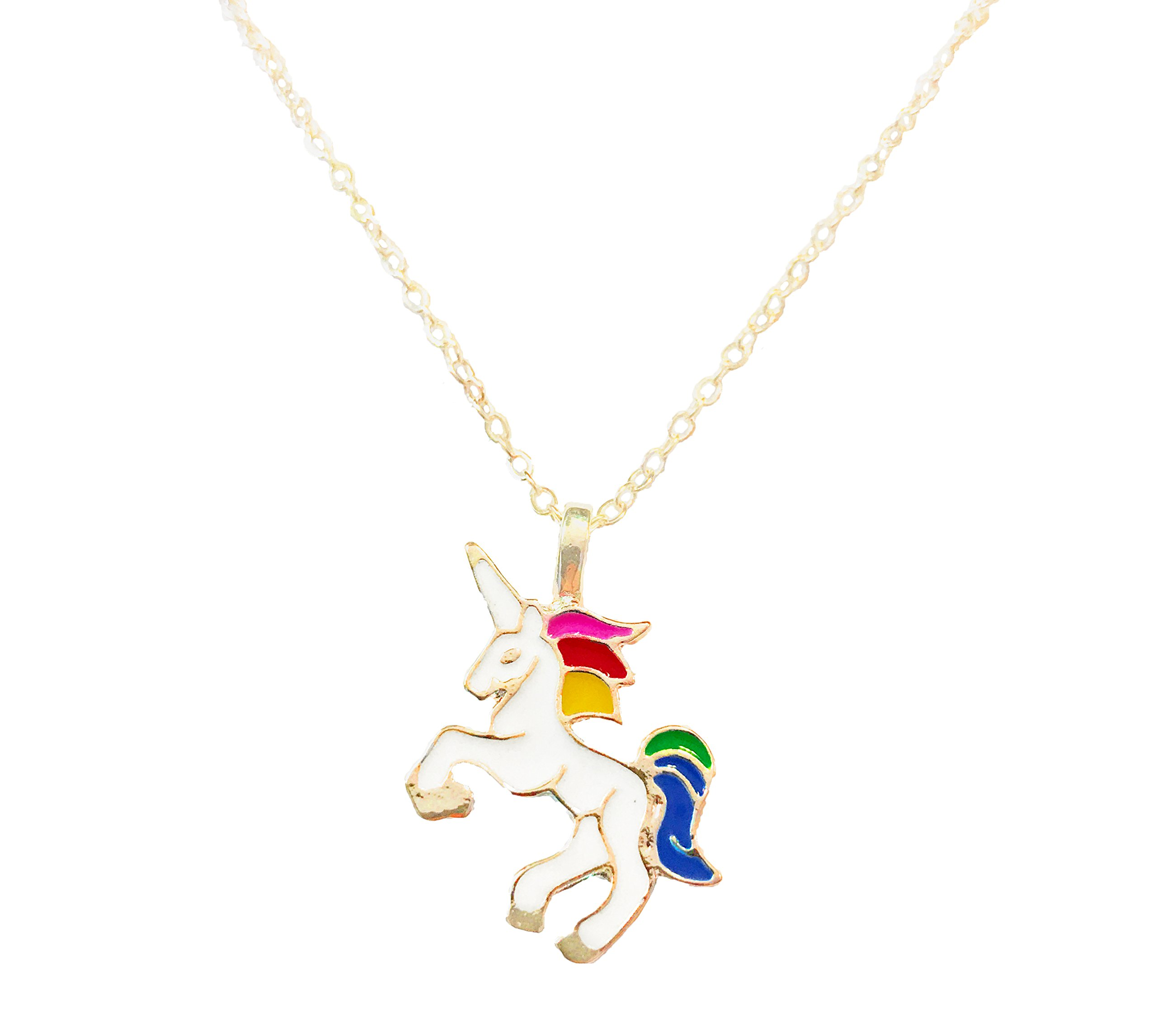 Altitude Boutique Unicorn Necklace Magical Pendant Gift for Girls or for Women Gold Silver Colorful Enamel 3