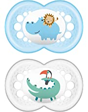 MAM Pacifiers, Baby Pacifier 16+ Months, Best Pacifier for Breastfed Babies, 'Animal' Design Collection, Boy, 2-Count