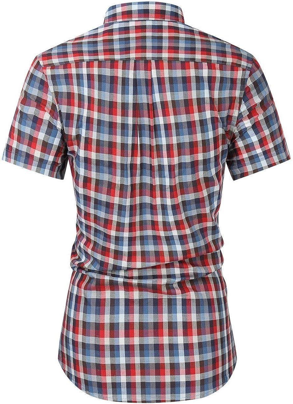 Comaba Mens Half Sleeve Leisure Cotton Plus-Size Turn-Down Collar Oxford Shirt