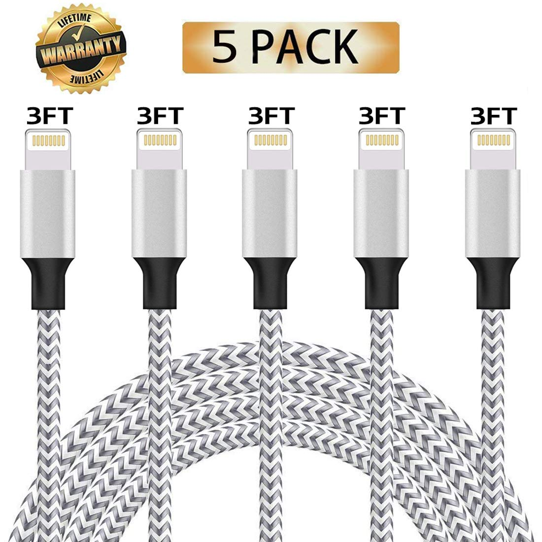 iPhone Charger, Lightning Cable, 5 Pack (3Ft) Nylon Braided Fast Charging Cable USB Charger Data Sync Cord Compatible with iPhone 7/Plus/XS Max/XS/XR/X 10/8/Plus/6S 6/Se More ZestyChef