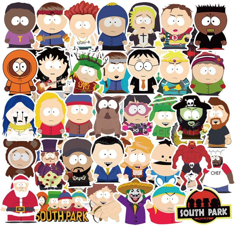 South Park Cartoon TV Show Themed,South Park Decal Stickers, for Water Bottles,Laptop,Cars,Skateboard Luggage,Bumper Stickers Hippie Decals Bomb