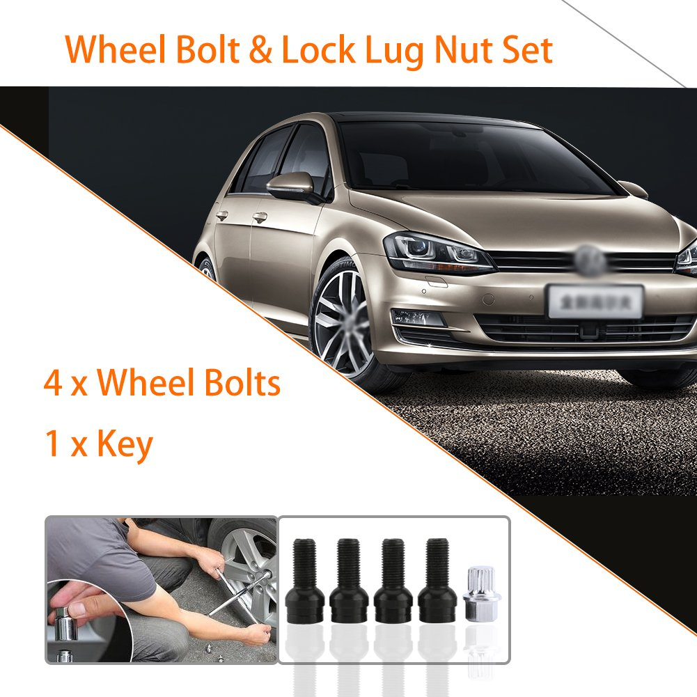 Wheel Bolt Lock Lug Nut with Key for VW Golf4 MK4 Passat B5 1998-2005