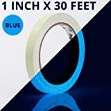 Glow Tape - 1 Inch x 30ft Vinyl Adhesive Blue Glow-in-The-Dark Tape Roll - Lasts Up to 12 Hours