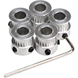 DROK 5PCS Aluminum GT2 Timing Belt Pulley 20 Teeth Bore 8mm Width 6mm and Wrench for RepRap 3D Printer Prusa i3