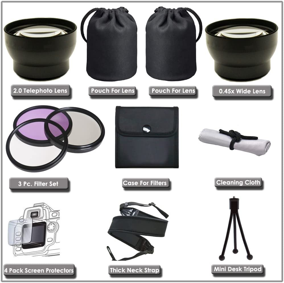 HDR-CX160//B HDR-CX360V HDR-PJ10 HDR-CX560V HDR-PJ30V Digital Nc Lens /& Filter Set for for Sony HDR-CX110 HDR-PJ50V HDR-XR160 HDR-CX130//B HDR-CX700V