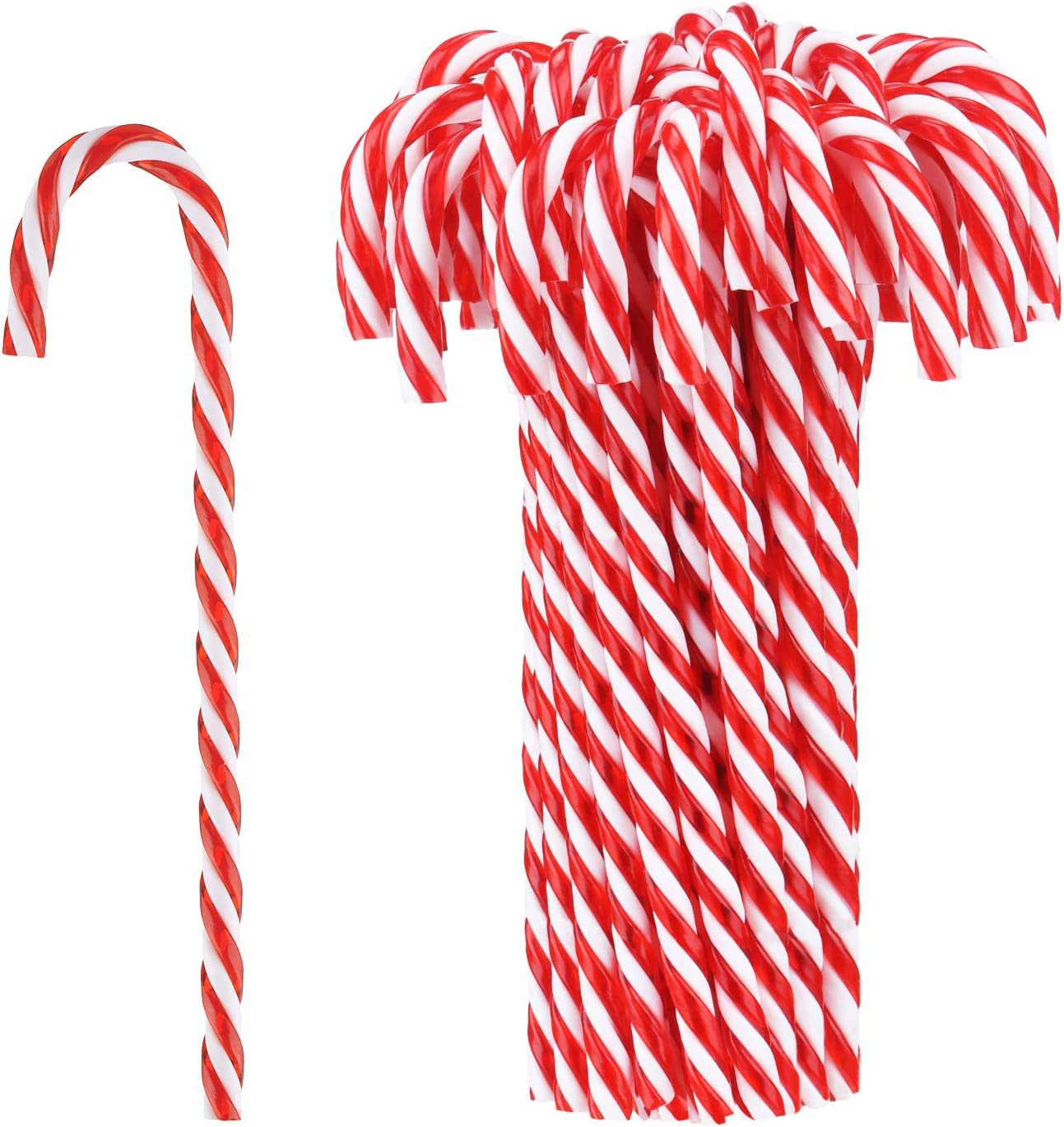 50 Pieces Christmas Plastic Candy Cane Christmas Tree Hanging Ornaments for Holiday Party Decoration Favors (Red and White)