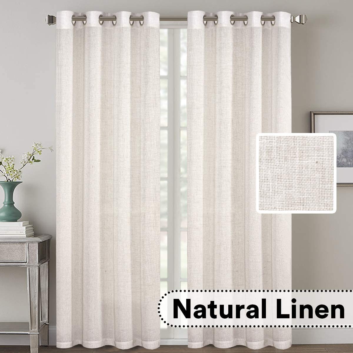 H.VERSAILTEX 2 Pack Ultra Luxurious High Woven Linen Elegant Curtains Grommet Curtain Panels Light Reducing Privacy Panels Drapes, Nickel Grommet, Extra Long 52×108-Inch, Natural