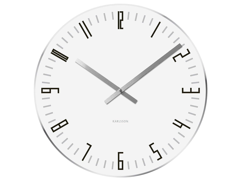 スリムインデックスミラーエッジ、ガラス、ホワイトとカールソン掛け時計   B001CISX1C