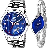 Espoir Analog Stainless Steel Blue Dial Couple Watch - Blue-9710Brock