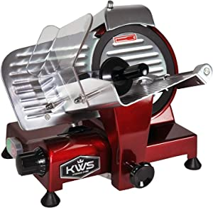 KWS MS-6RT Premium 200w Electric Meat Slicer 6-Inch in Red Teflon Blade, Frozen Meat Deli Meat Cheese Food Slicer Low Noises Commercial and Home Use