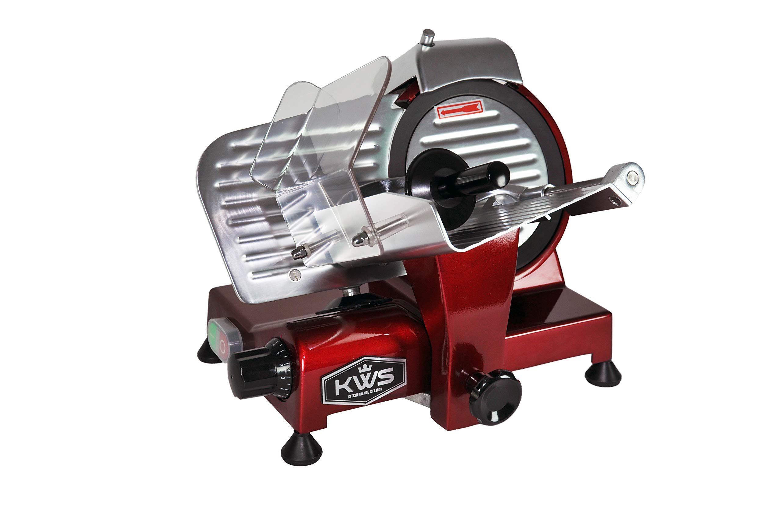 KWS MS-6RT Premium 200w Electric Meat Slicer 6-Inch in Red Teflon Blade, Frozen Meat Deli Meat Cheese Food Slicer Low Noises Commercial and Home Use by KitchenWare Station