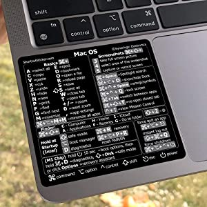 SYNERLOGIC Mac OS (Big Sur/Catalina/Mojave) Reference Keyboard Shortcut Sticker (M1+Intel) - Black Glossy Vinyl, Regular Adhesive, 3.25