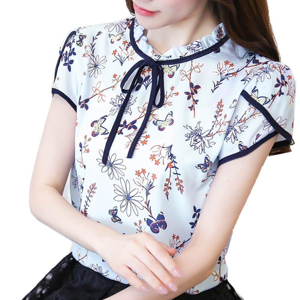 Womens Retro Floral Print Chiffon Blouse Ruffled Collar Tie up Work Shirt Tops