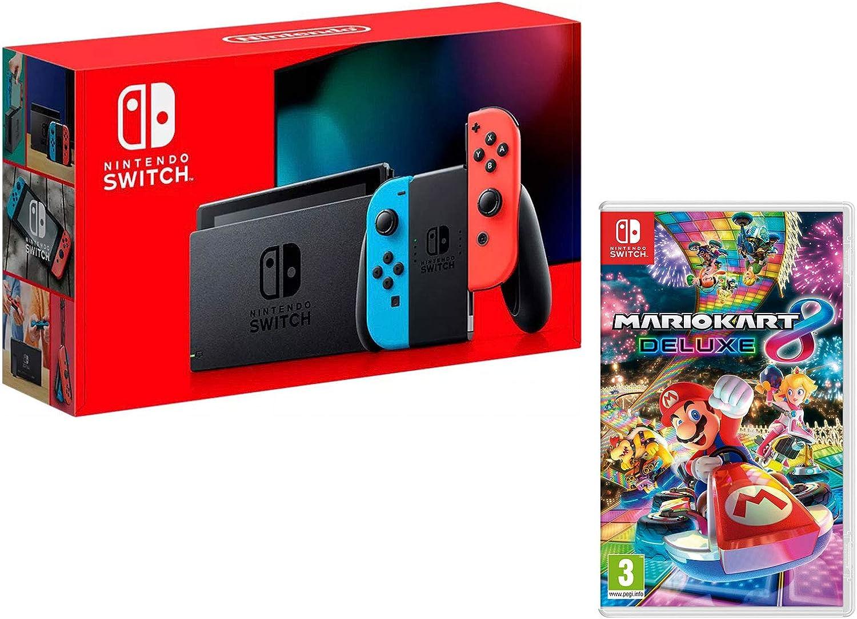 Nintendo Switch Consola 32Gb Azul/Rojo Neón + Mario Kart 8 Deluxe: Amazon.es: Videojuegos