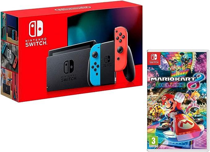 Nintendo Switch Consola 32Gb Azul/Rojo Neón + Mario Kart 8 Deluxe ...