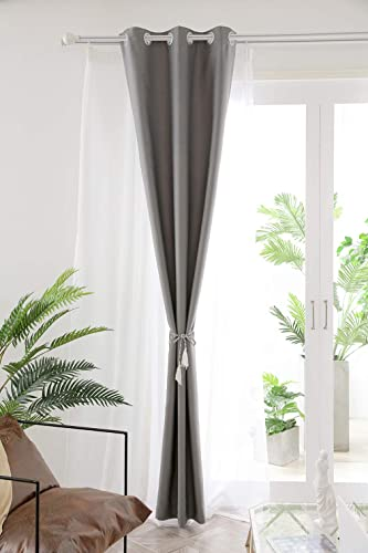 Blackout Curtains Living Room Bedroom Curtains Four Colors to Choose from Gray, 52Wx84H