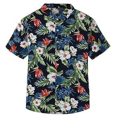 e9e84facd Colygamala Men's Aloha Short Sleeve Shirts -Floral Print Hawaiian Shirt  Plus Size(S-
