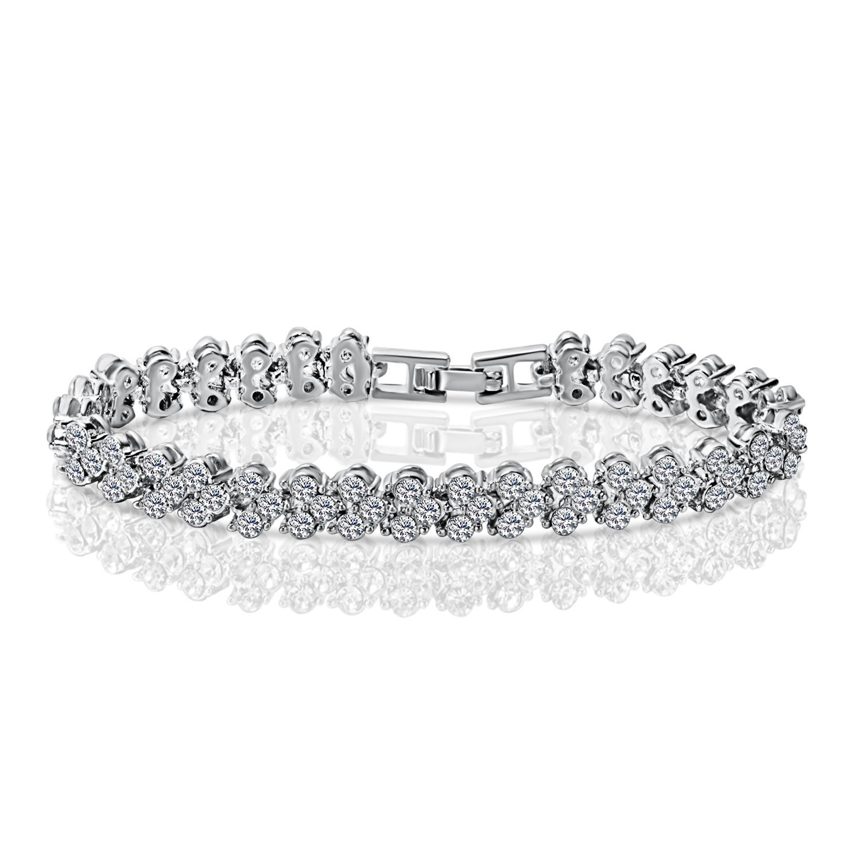 Joyfulshine Women Fashion Cubic Zirconia Crystal Tennis Bracelet White Gold Plated Color White SX160401011