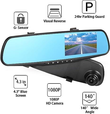 Nexgadget Dash Cam Rückspiegelkamera Mit Doppellinse 1080 P Fahrtaufnahme Mit G Sensor Loop Aufnahme Parkmodus Bewegungserkennung Kfz Ladegerät Mit Einem Usb Port Auto