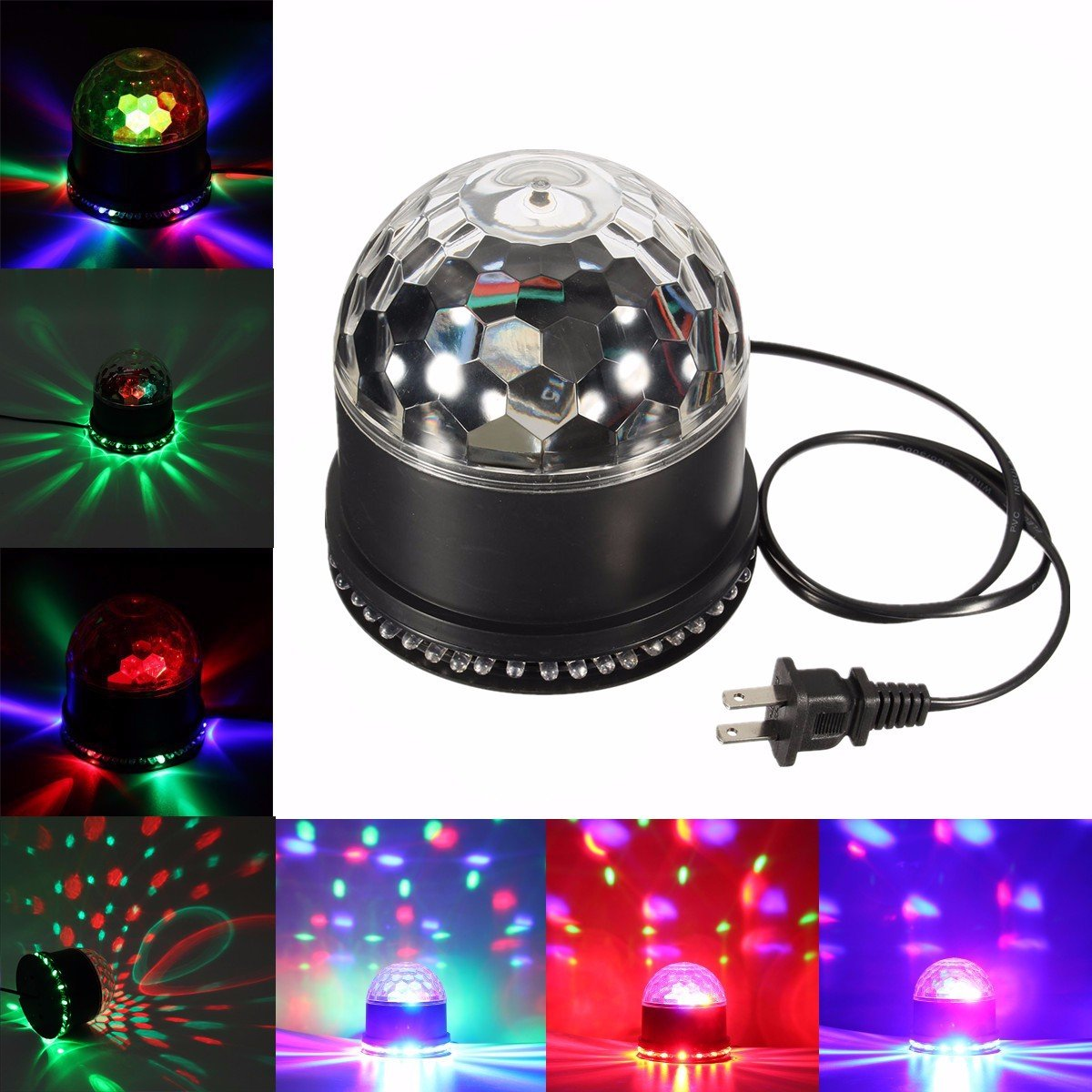 Disco Ball Light, GLISTENY DJ Disco Party Lights 7 Color Changing RGB Auto Sound Activated 5W Strobe Rotating Magic Ball Lights Stage Lights Effect for Wedding Show KTV Nightclub black L